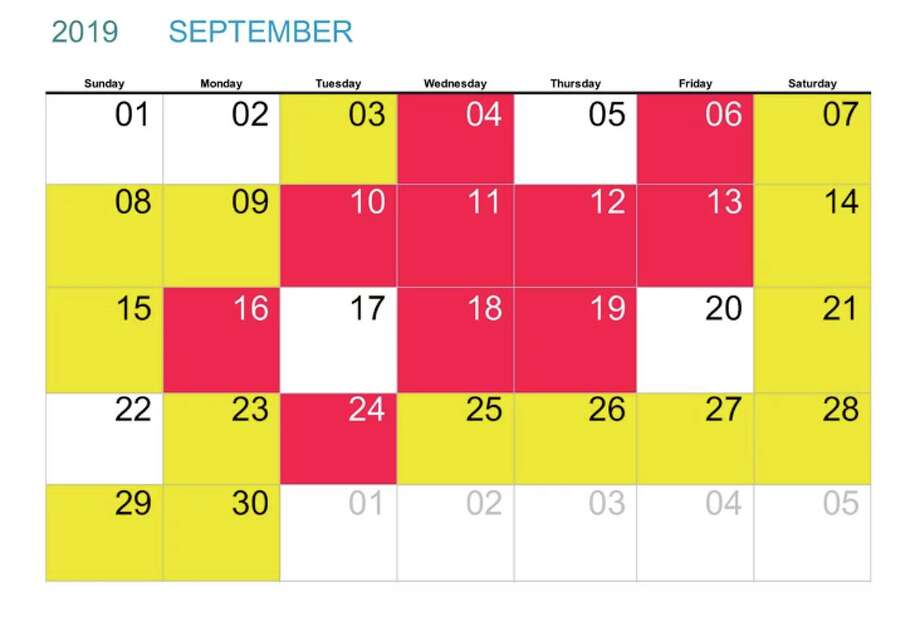UCSF Medical Center's new traffic alert calendar shows which days patients and staff can expect delays (any colored red or yellow). Photo: UCSF Medical Center