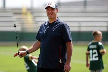 Houston Texans head coach Bill O'Brien walks off the practice field after a joint training camp practice on with the Green Bay Packers Tuesday, Aug. 6, 2019, in Green Bay, Wis.