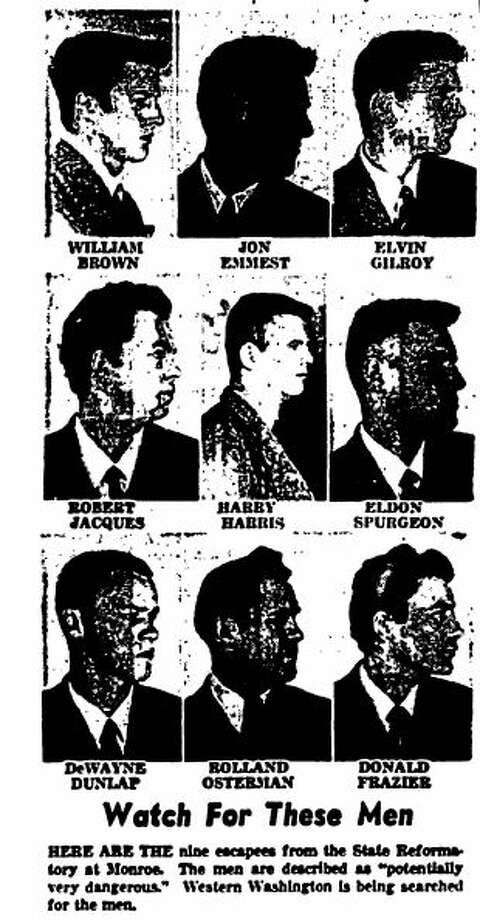 """Watch For These Men"": The Seattle Post-Intelligencer ran the photos of nine inmates who escaped from the Washington State Reformatory in Monroe on Aug. 6, 1958. Photo: SeattlePI Archives"