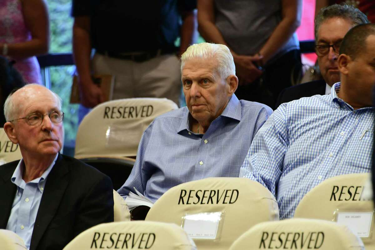 Former New York Giants head coach Bill Parcells, center, is seen on the first night of Fasig-Tipton Saratoga Sale of Select Yearlings on Monday, Aug. 5, 2019 in Saratoga Springs, N.Y. (Lori Van Buren/Times Union)
