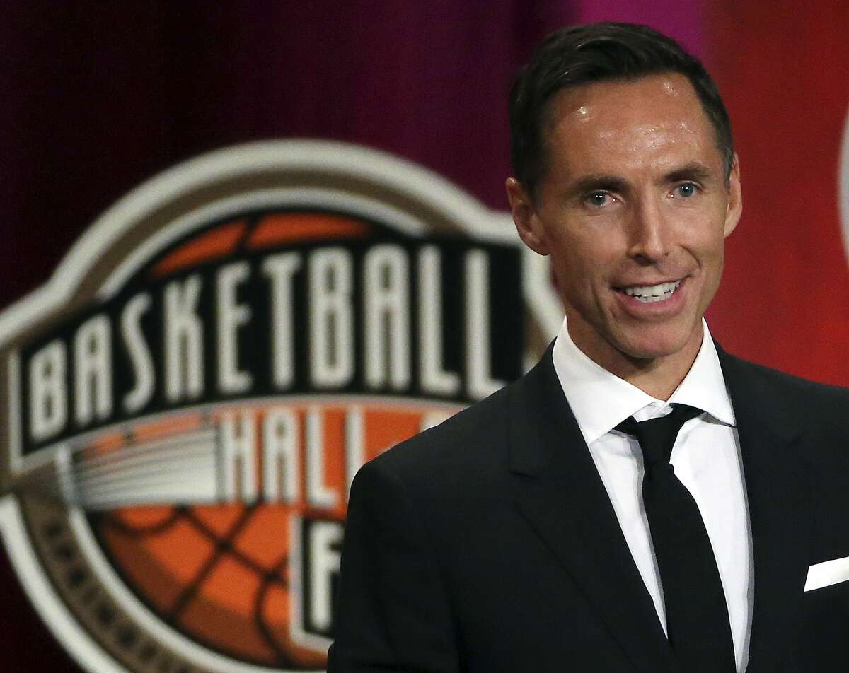 In this Sept. 7, 2018, file photo, Steve Nash speaks during induction ceremonies at the Basketball Hall of Fame, in Springfield, Mass. Nash is headed to New York City to become the head coach of the Brooklyn Nets.