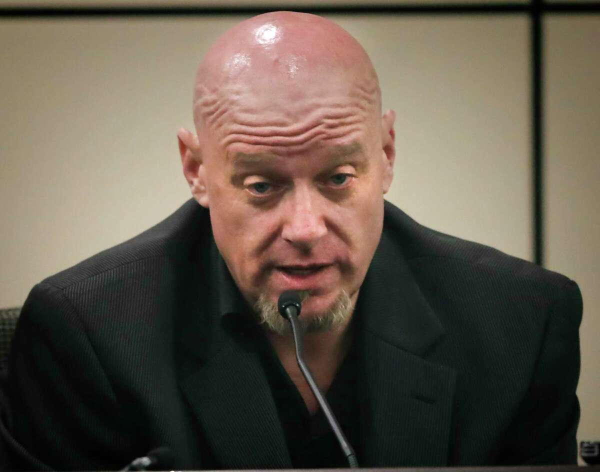 Gregory Dalton speaks from the witness stand during the retrial of Miguel Martinez who is accused of murdering Laura Carter, in the 437th state District Court at the Cadena-Reeves Justice Center on Tuesday, Aug. 6, 2019. Dalton is a freind of Martinez who picked him up after the alleged shooting.