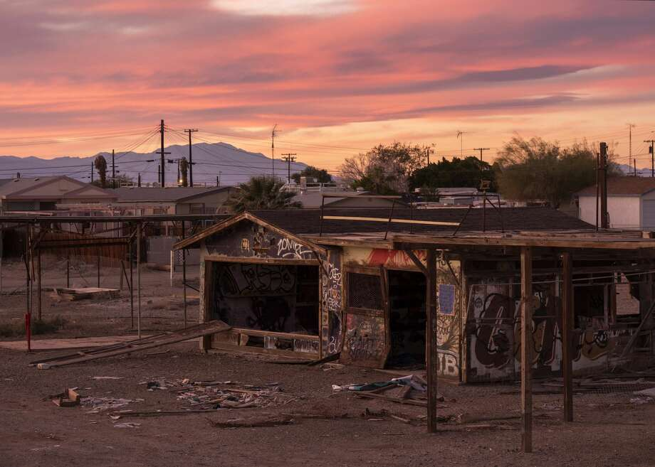 The community of Bombay Beach, which was devastated by flooding after two hurricanes raised the level of the Salton Sea in the 1970s, has become a popular tourist destination and a primary target for property vandals, as seen on December 26, 2018 near Calipatria, California. Scientists believe that the southern portion of the San Andreas Fault will inevitably give birth to a massive earthquake, bigger than any that has occurred in Southern California in modern history. Photo: David McNew/Getty Images For Lumix