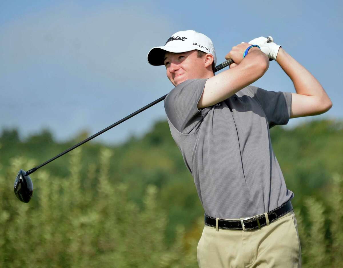 Saratoga's Nolan Crowley tees off during the Section II A-B-C-D championship at Orchard Creek Golf Course Tuesday Oct. 9, 2018 in Altamont, NY. (John Carl D'Annibale/Times Union)