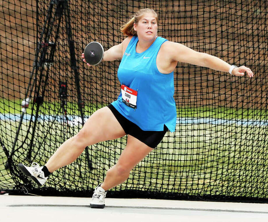 Kelsey Card competes in the women's discus at the U.S. Championships track and field meet July 28 in Des Moines, Iowa. Card, a four-time state champion in both the discus and shot put in high school with the Carlinville Cavaliers, is in Lima, Peru, this week for the Pan Am Games. In the Pan Am finals on Tuesday night, Card placed eighth in the women's discus finals with a throw of 58.94 meters (193 feet, 4 inches) on the fourth of her sixth attempts. Card's runner-up throw at the U.S. Championships was 207-9. Cuba's Yaime Perez Tellez won the discus at 66.58 meters (218 feet, 5 inches).