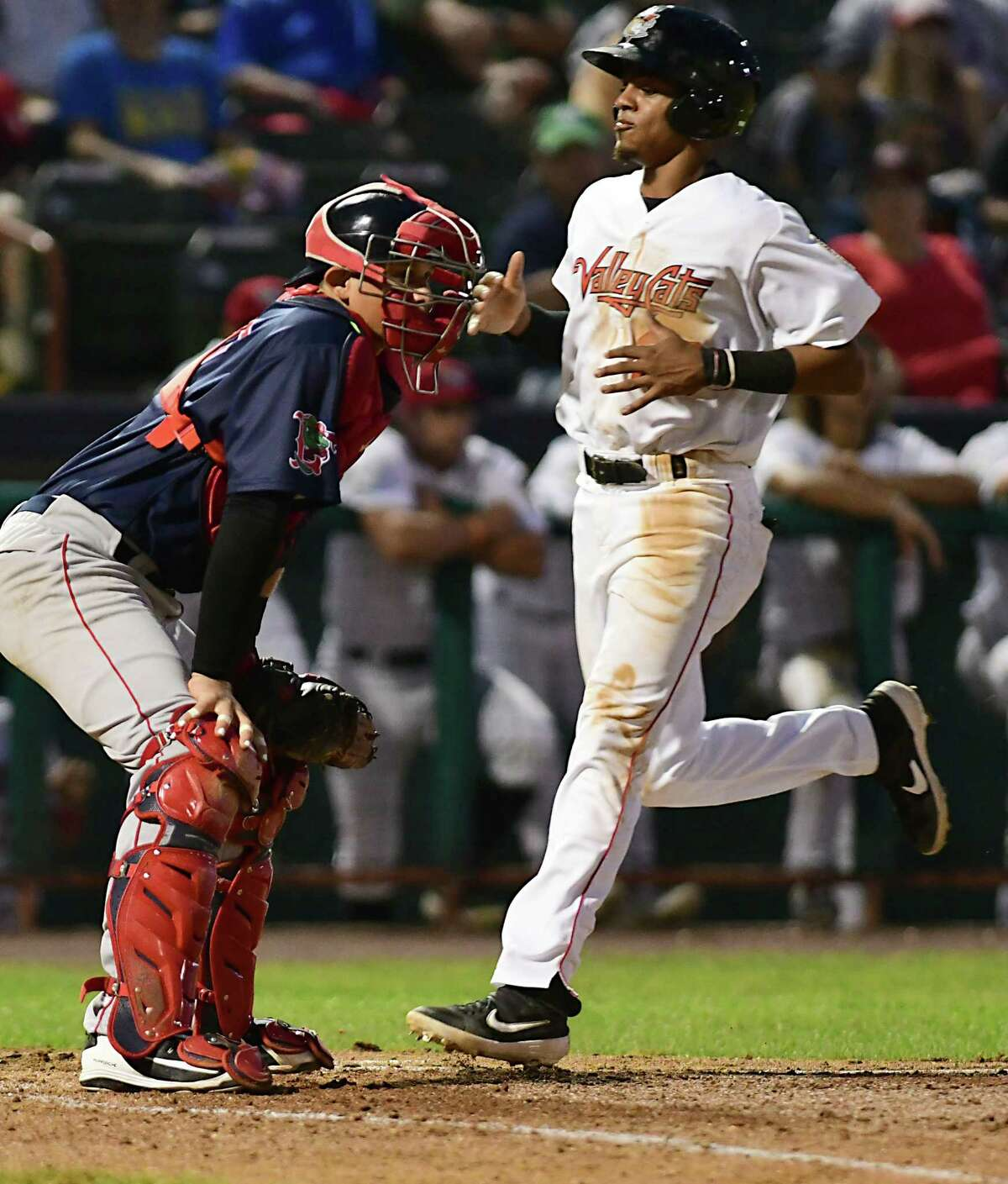 Tri-City ValleyCats AJ Lee is hit in by Luis Guerrero's two run RBI during a baseball game against the Lowell Spinners at Joe Bruno Stadium on Tuesday, Aug. 6, 2019 in Troy, N.Y. (Lori Van Buren/Times Union)