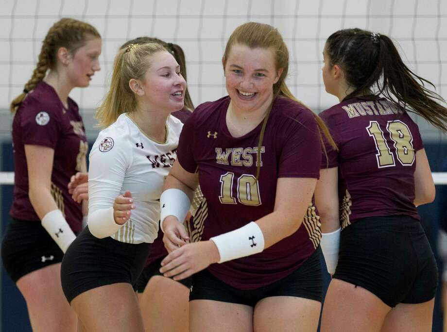 Frankie Mullens #10 of Magnolia West reacts after scoring a point during the first set of a non-district high school volleyball match at Lake Creek High School, Tuesday, Aug. 6, 2019, in Montgomery. Photo: Jason Fochtman, Houston Chronicle / Staff Photographer / Houston Chronicle