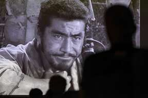 """People watch the 1954 movie Seven Samurai in the Jefferson Theatre as part of the BMT Film Fest Tuesday evening. Future showings will be: Wed - Motorcycle Diaries 7:30 p.m. Thu - Metropolis 7:30 p.m. Fri - Cinema Paradiso 7:30 p.m. Sat - Several screenings will be offerd begining at noon with an awards presentation at 6 p.m. and a screening of Mahmoud Salimi's """"Not Me"""" at the night's end. Photo taken on Tuesday, 08/06/19. Ryan Welch/The Enterprise"""