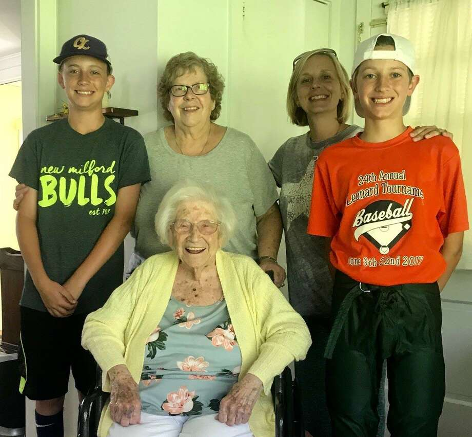 Dorothy (Keifer) Murphy of New Milford turned 108 Aug. 8, likely making her the oldest resident who was born in New Milford. She is shown above with her great-niece Nancy Carlson, great-great-niece Tara Gee and great-great-great-nephews Jacob Gee, left, and Ryder Gee. A party to celebrate her birthday is planned for Aug. 17 at Harrybrooke Park in New Milford. Photo: Courtesy Of Nancy Carlson / The News-Times Contributed