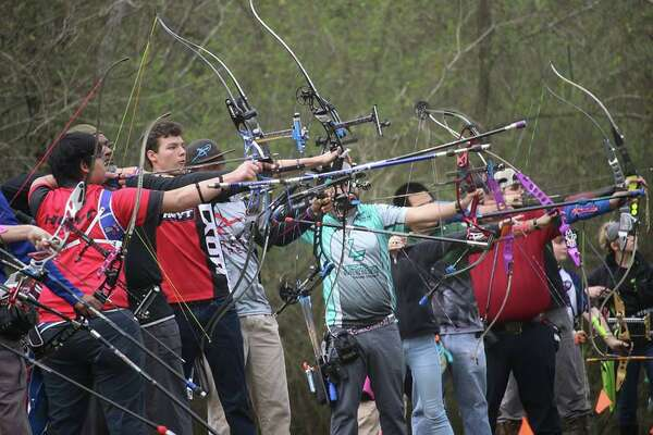 Archers get ready to shoot their bows at the first annual 2019 Buffalo Bullseye Classic, at Buffalo Field Archery Club in Spring.