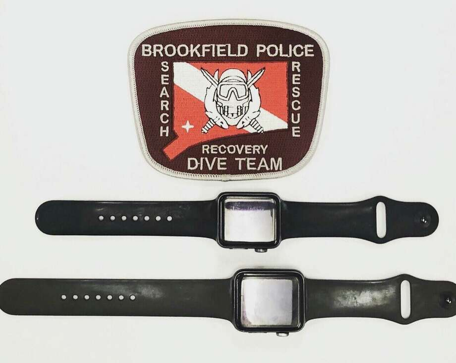 The Brookfield Police Dive Team found two Apple Watches Tuesday after a training exercise in Candlewood Lake. Photo: Brookfield Police Department