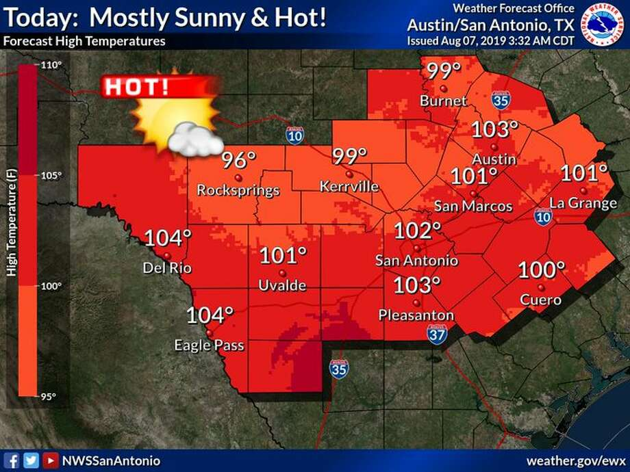 NWS: Heat index may reach 110 degrees Wednesday in San Antonio area