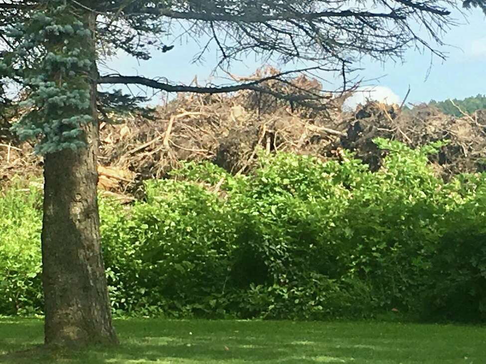 A massive pile of downed trees and brush that was cleared off a site in Schodack to make way for the new Amazon warehouse. The pile sits right next to the home of George and Rose Brehm of North Hillcrest Road and they say dirt and dust from the site often blows into their years and the sound of trees being ground up can be heard all day long even inside the house.