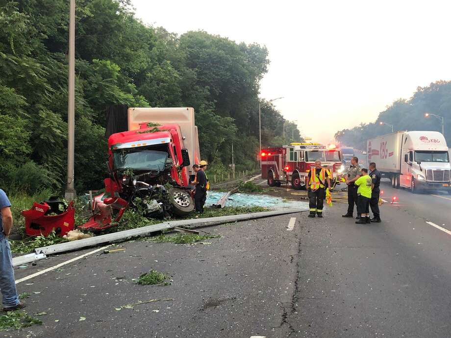 A truck crashed near exit 2 on I-95 in Greenwich. Photo: / Greenwich Fire L1042