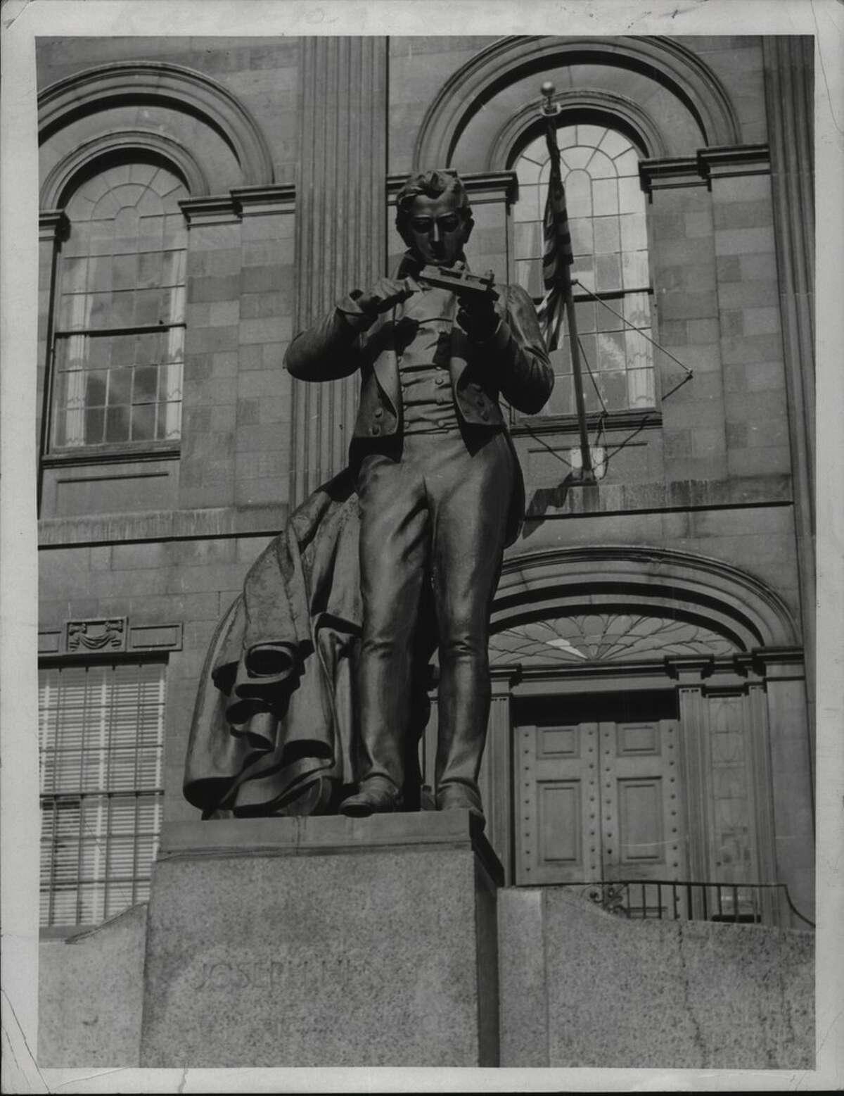 Statue of Joseph Henry, Memorial Park, Albany, New York. November 26, 1966 (Bob Richey/Times Union Archive)