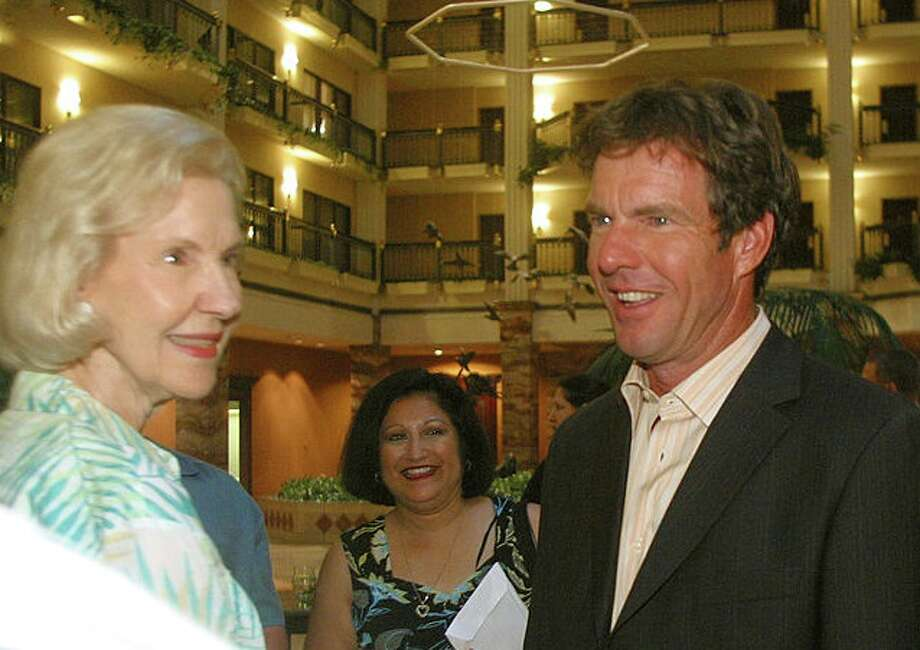 """Actor Dennis Quaid and his mother arrive for the """"Lights, Camera, Fashion 2"""" show on June 4, 2004 in Austin, Texas. Photo: Jana Birchum/Getty Images / 2004 Getty Images"""