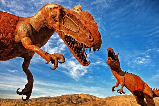 Located next to Anza-Borrego Desert State Park is private land, called Galleta Meadows, which is free and open to the public. Here you will find 130 fully-sized outdoor metal sculptures by artist Ricardo Breceda. They vary from dinosaurs to elephants.