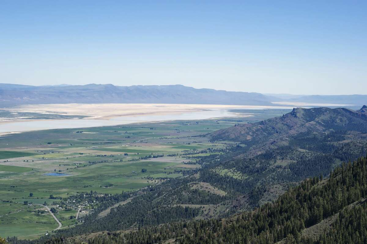 A view of Surprise Valley, Modoc County, California from the Warner Mountains with Lake City in the picture.