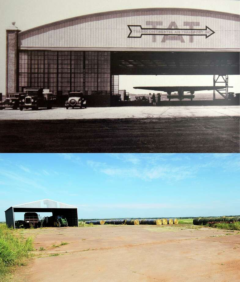 A Ford Trimotor (top) can be seen in the Transcontinental Air Transport hangar northeast of Waynoka, Okla., which opened for operations on the airline's New York-to-Los Angeles air-rail route in July 1929. Farm equipment and hay bales (bottom) sit on the same concrete pad at the remains of the historic airfield on Tuesday, July 16, 2019 in Waynoka, Okla. Photo: James Neal / Associated Press / Enid News & Eagle