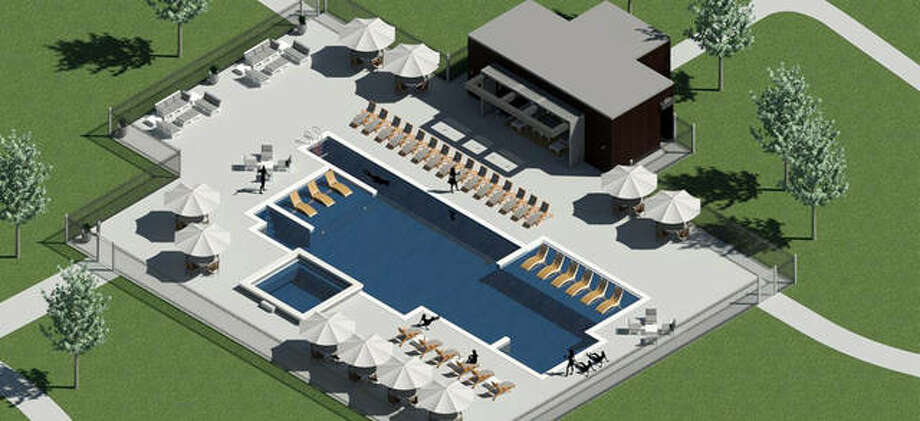 Rendering of Trace on the Parkway's new courtyard pool area. Photo: Courtesy Of Plocher Construction Co.