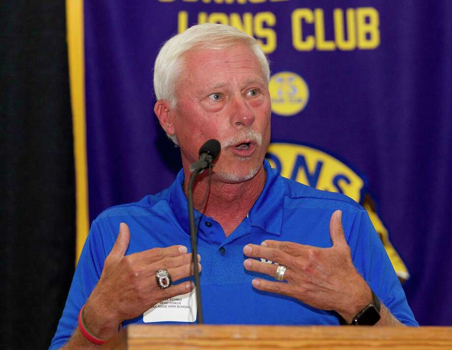 Oak Ridge head coach Mark Schmid speaks during the 44th annual Conroe Noon Lions Club Buddy Moorhead Pigskin Preview at the Lone Star Convention & Expo Center, Wednesday, Aug. 7, 2019, in Conroe. Photo: Jason Fochtman, Houston Chronicle / Staff Photographer / Houston Chronicle