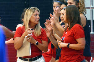 Plainview volleyball head coach Torri Hatch, left, earned her 200th career victory on Tuesday night. Hatch is in her 11th year leading the Lady Bulldogs.
