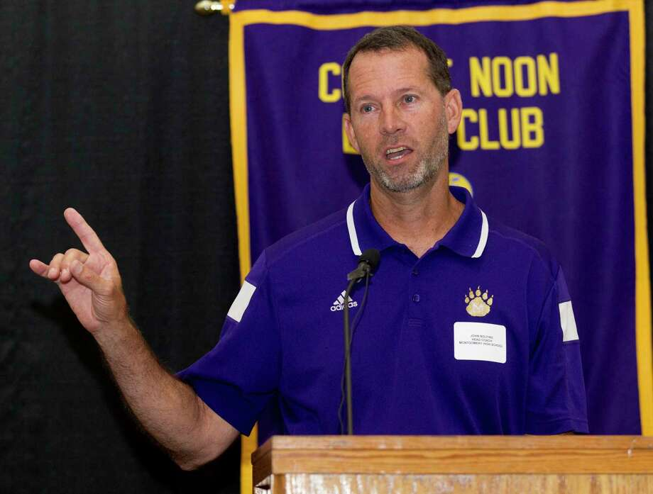 Montgomery head coach John Bolfing speaks during the 44th annual Conroe Noon Lions Club Buddy Moorhead Pigskin Preview at the Lone Star Convention & Expo Center, Wednesday, Aug. 7, 2019, in Conroe. Photo: Jason Fochtman, Houston Chronicle / Staff Photographer / Houston Chronicle