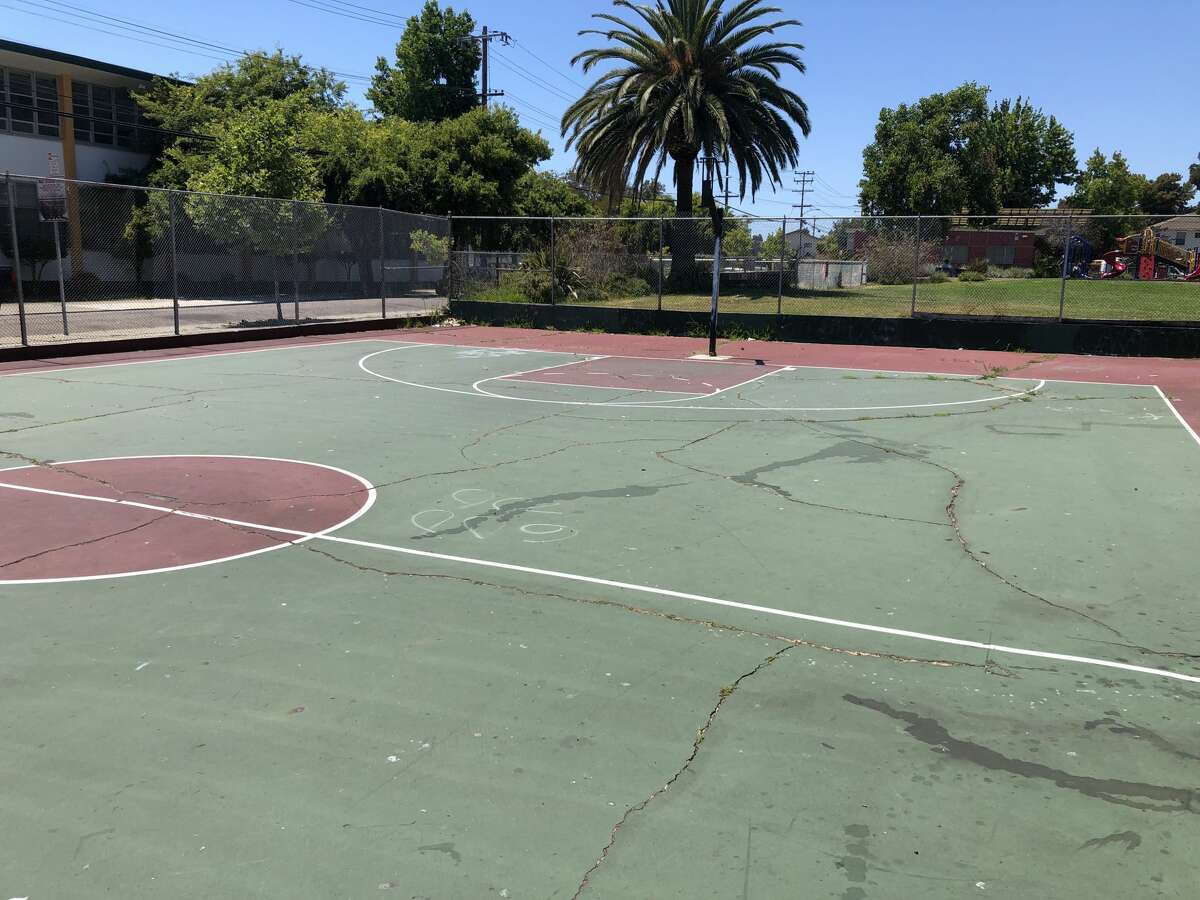 A before shot of the basketball court at Concordia Park in Oakland.