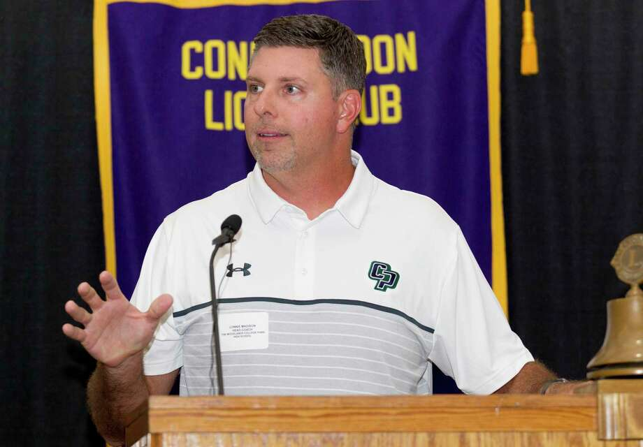 College Park head coach Lonnie Madison speaks during the 44th annual Conroe Noon Lions Club Buddy Moorhead Pigskin Preview at the Lone Star Convention & Expo Center, Wednesday, Aug. 7, 2019, in Conroe. Photo: Jason Fochtman, Houston Chronicle / Staff Photographer / Houston Chronicle