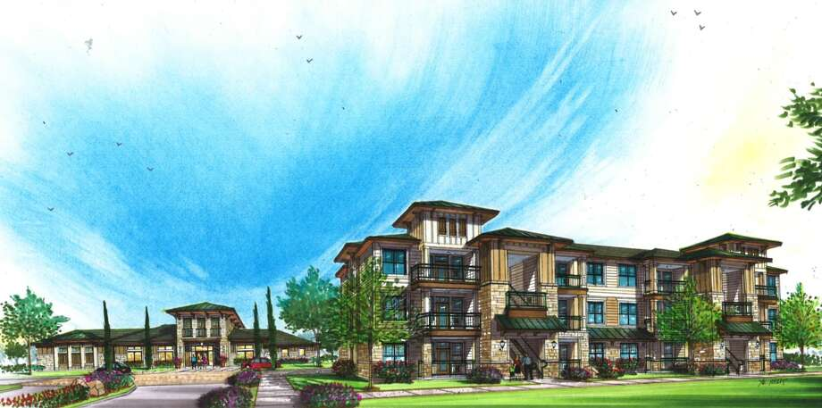 A rendering of the new apartments and townhomes slated for the former site of the First Baptist Church of Texas City. Exact colors and materials have not been finalized and may change. Photo: Ted Trout Architect And Associates
