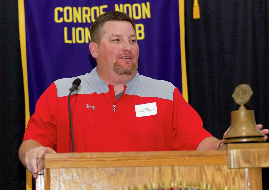 Caney Creek head coach Ned Barrier speaks during the 44th annual Conroe Noon Lions Club Buddy Moorhead Pigskin Preview at the Lone Star Convention & Expo Center, Wednesday, Aug. 7, 2019, in Conroe. Photo: Jason Fochtman, Houston Chronicle / Staff Photographer / Houston Chronicle