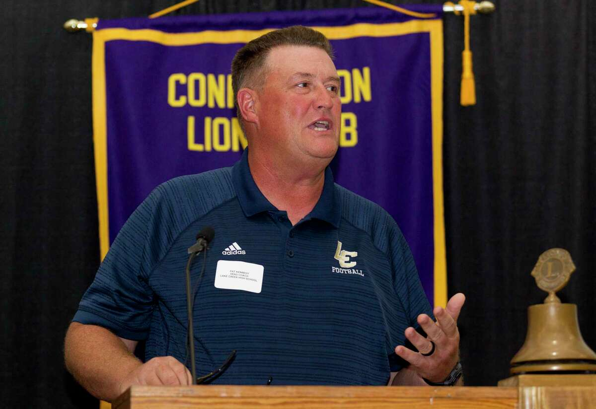 Lake Creek head coach Pat Kennedy speaks during the 44th annual Conroe Noon Lions Club Buddy Moorhead Pigskin Preview at the Lone Star Convention & Expo Center, Wednesday, Aug. 7, 2019, in Conroe.