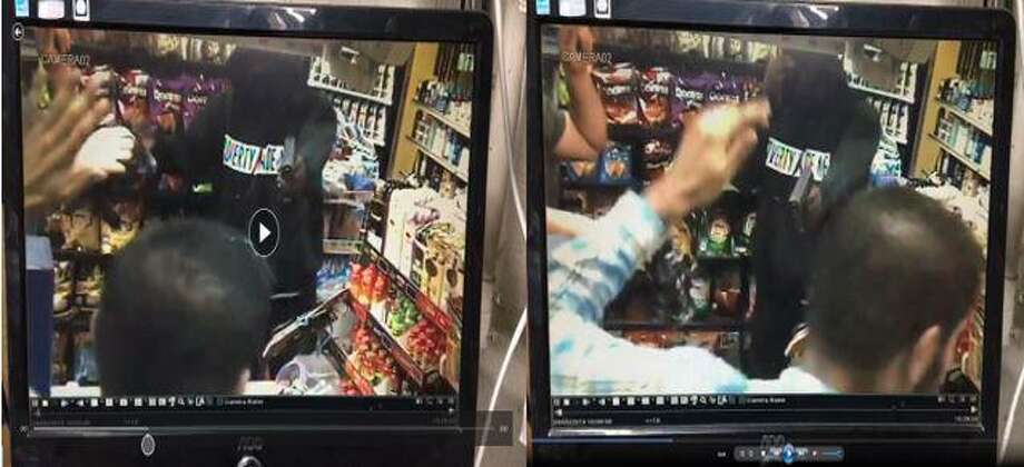 Surveillance footage from an alleged Monday evening robbery on Willow Street. Photo: New Haven Police Department