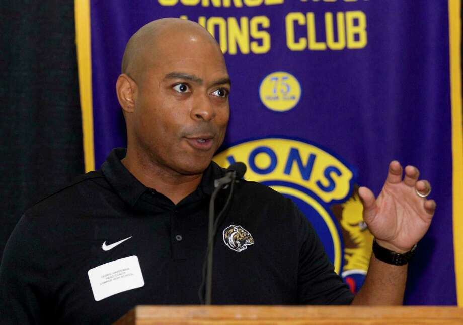 Conroe head coach Cedric Hardeman speaks during the 44th annual Conroe Noon Lions Club Buddy Moorhead Pigskin Preview at the Lone Star Convention & Expo Center, Wednesday, Aug. 7, 2019, in Conroe. Photo: Jason Fochtman, Houston Chronicle / Staff Photographer / Houston Chronicle