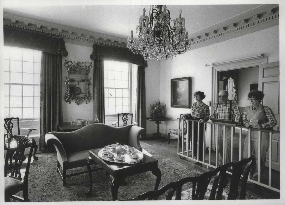 Schuyler Mansion tour, Albany, New York - The Northeast Parlor - Mrs. Helen M. Nickels, Albany; James D. Nickels, Albany; Ms. Joan A. Walsh, Menands. May 1, 1982 (Bob Richey/Times Union Archive)