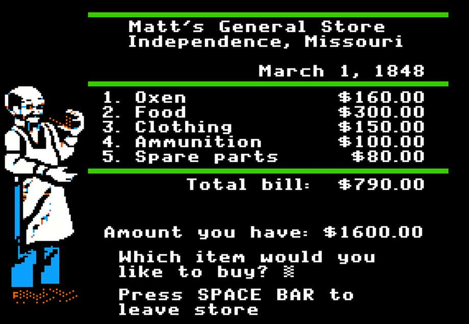 Matt's General Store doles out similar goods that people would have eaten or purchased while on the real Oregon Trail. Photo: Oregon Trail Game