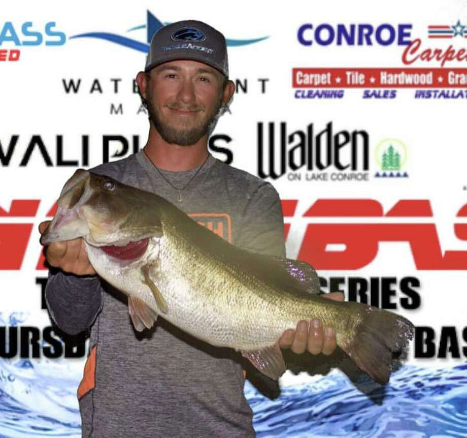 Wesley Baxley won the CONROEBASS Thursday Big Bass Tournament with a bass weighing 8.42 pounds. Photo: Conroe Bass