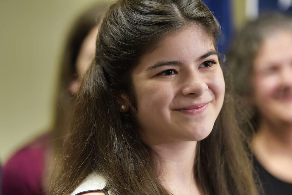 """Actor Gabby Pizzolo at an event at Senator Jim Tedisco's district office on Wednesday, Aug. 7, 2019, in Clifton Park, N.Y. Senator Tedisco presented Pizzolo a New York State Senate Proclamation to celebrate her hard work. Pizzolo played the part of """"Suzie"""" in the third season of the hit Netflix television program """"Stranger Things 3."""" Pizzolo will be a junior at Niskayuna High School. (Paul Buckowski/Times Union)"""