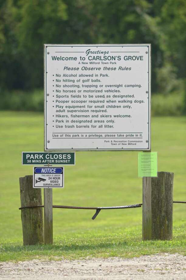 Carlson's Grove park in New Milford. The town is stepping up enforcement of two more local parks, Clatter Vally and Carlson's Grove. Part of it includes police officers and the town's park ranger patrolling the parks and enforcing the requirement that people from out of town get park passes. Wednesday, August 7, 2019, in New Milford, Conn. Photo: H John Voorhees III / Hearst Connecticut Media / The News-Times