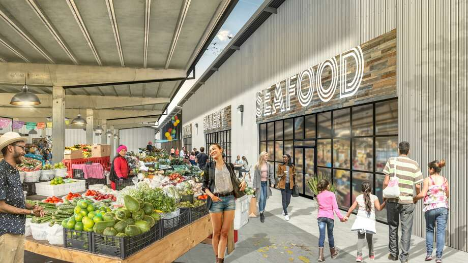 Renderings of the future Houston Farmers Market, the redevelopment of the produce and grocery market on Airline Drive near the Heights. Photo: Courtesy Of MLB Capital Partners