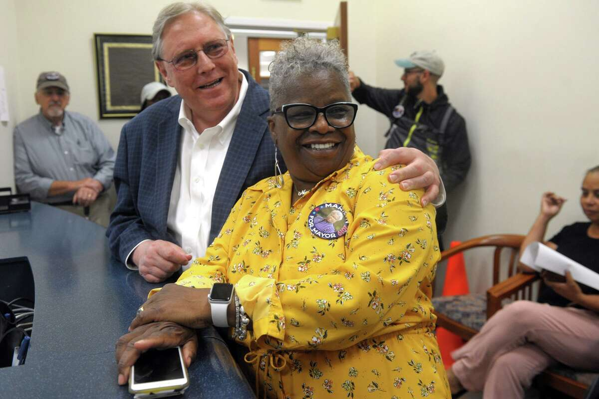 State Sen. Marilyn Moore is joined by supporter Chris Caruso as she delivers primary petitions with to the Registrar of Voters office in Bridgeport, Conn. Aug. 7. 2019. Moore hopes to make it onto September's Democratic Primary for Mayor.