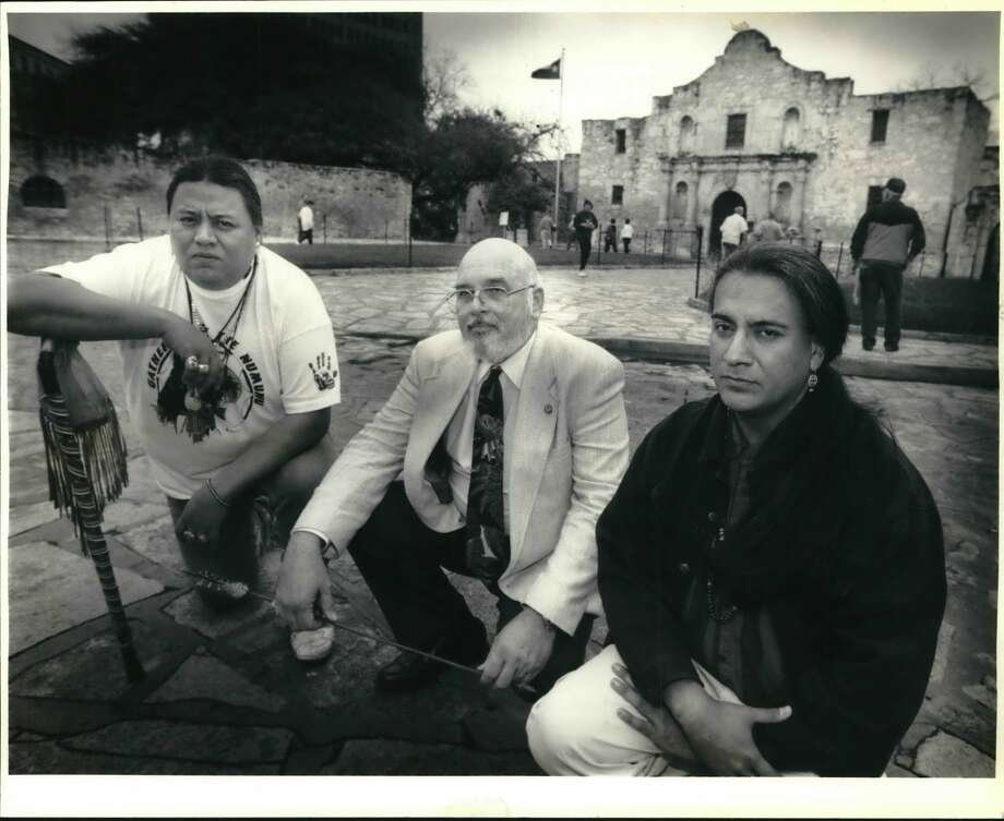 In 1994, Xavier Delapass Sanchez, from left, president of the American Indian Council of Laredo and a Texas Comanche; Gary J. Gabeheart, president of Intertribal Council of Native Americans and a Chickasaw Indian; Tomas Taberas, an Apache, were among those calling for closing off streets in front of the Alamo because of research indicating land around the Alamo is an Indian burial ground. Photo: John Davenport/San Antonio Express-News