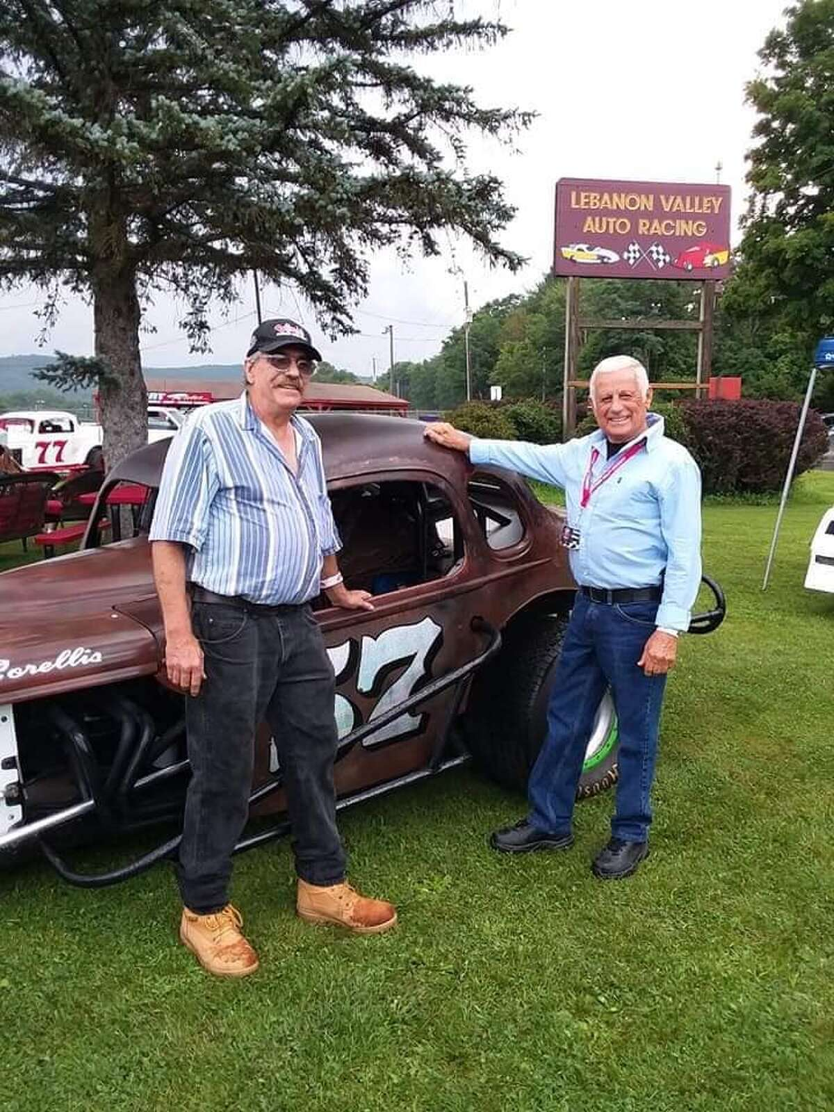 Tommy Corellis, right, and car owner Carl Cram at the 'Legends of Lebanon Valley' event. (Courtesy of Lebanon Valley)
