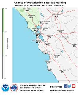 Chance of precipitation for Saturday, Aug. 10.