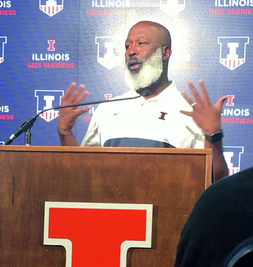 Illinois football coach answers reporters' questions at Tuesday's media day at Memorial Stadium in Champaign. Photo: Pete Hayes | The Telegraph