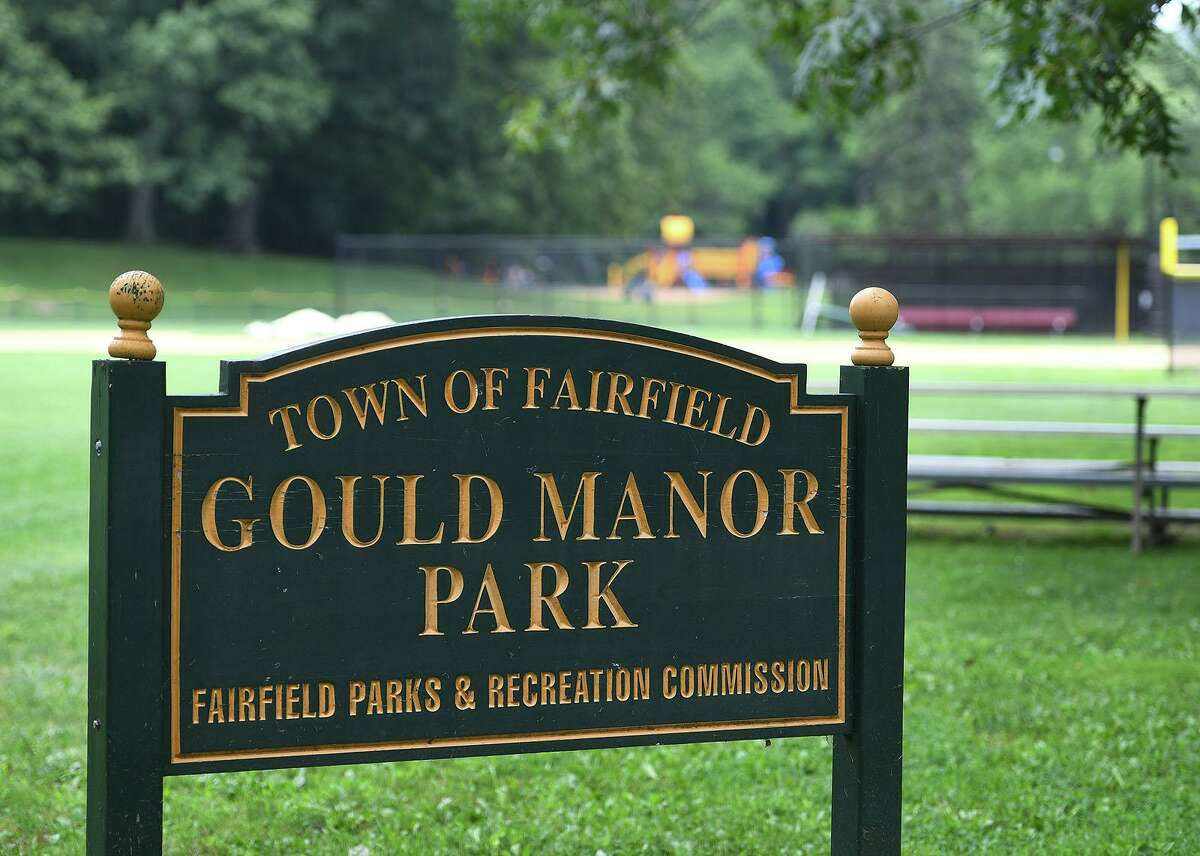 Gould Manor Park in Fairfield, where soil samples were taken last week. Initial results indicate the presence of contaminants, but no hazardous waste.