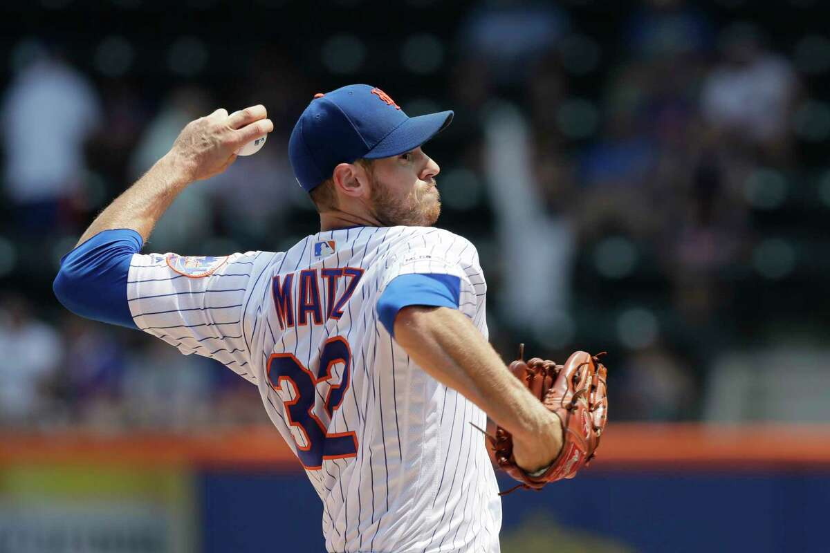 New York Mets pitcher Steven Matz throws against the Miami Marlins in the first inning of a baseball game, Wednesday, Aug. 7, 2019 in New York. (AP Photo/Mark Lennihan)