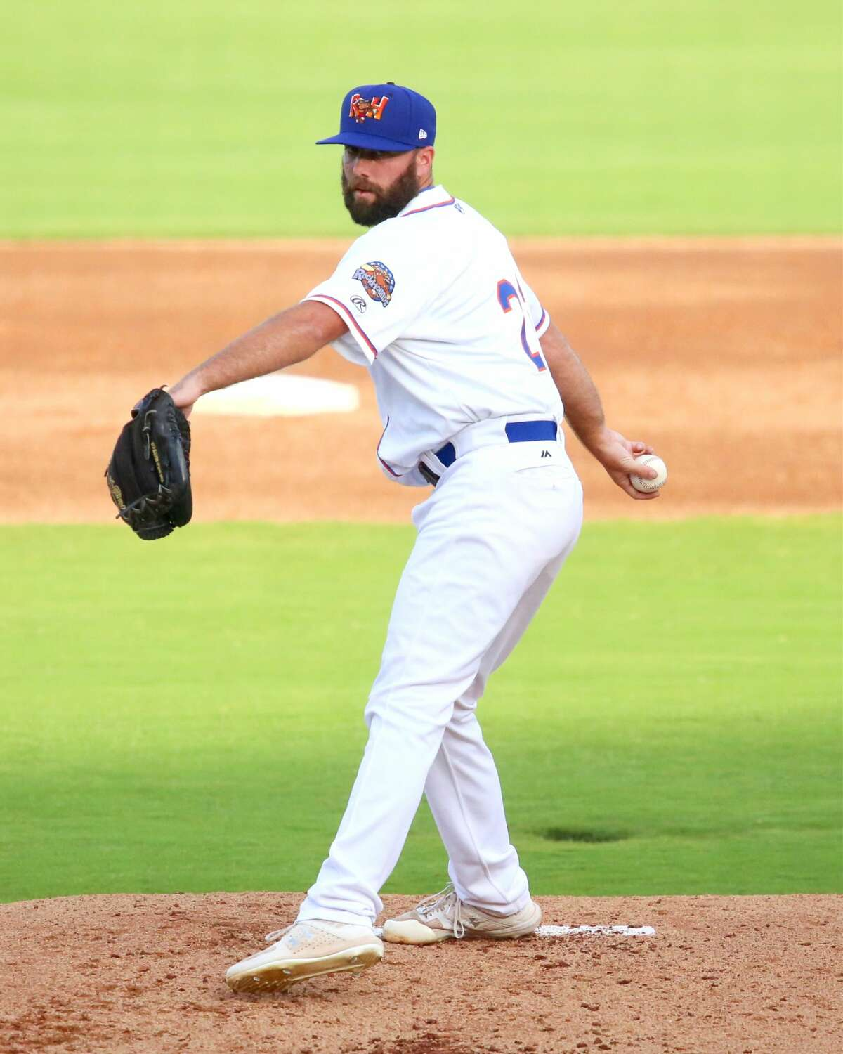 Midland RockHounds pitcher Kyle Friedrichs is shown throwing a pitch during a game this season at Security Bank Ballpark.