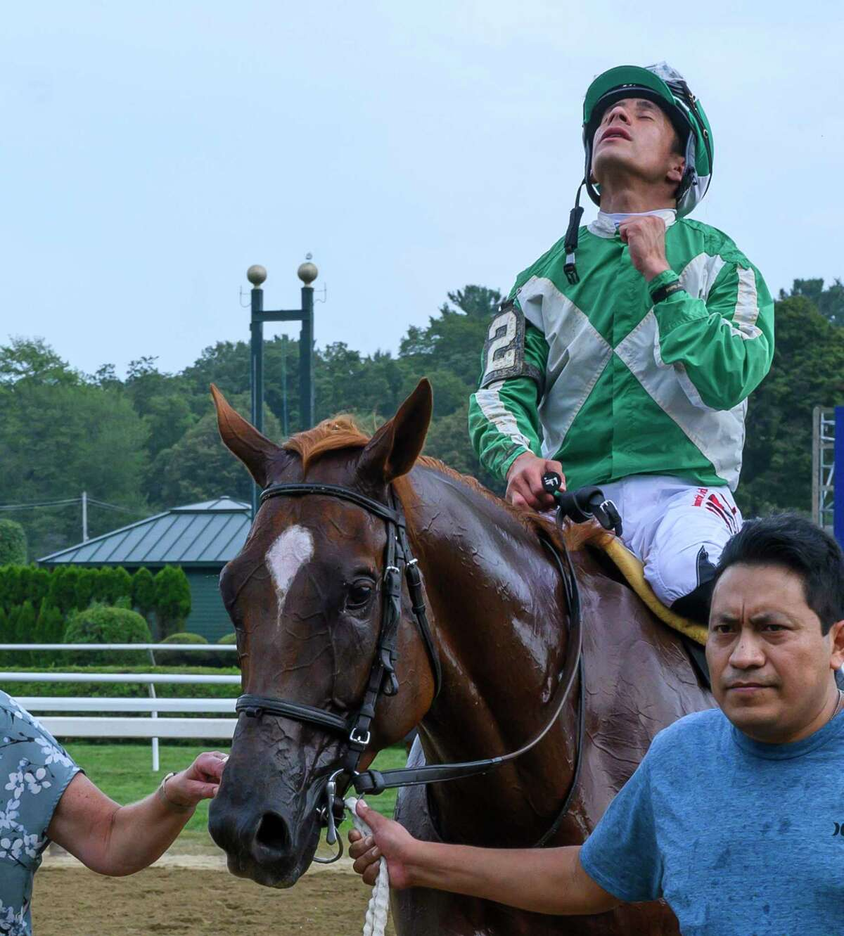 Mr. Buff with jockey Junior Alvarado heads to the winnerA?•s circle after an easy win in the 38th running of the Evan Shipman the Saratoga Race Course Wednesday Aug. 7, 2019 in Saratoga Springs, N.Y. Photo Special to the Times Union by Skip Dickstein