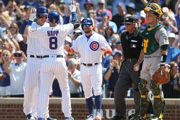 half off b6104 0eaec Cubs pound A's; Matt Chapman's slump deepens - SFChronicle.com